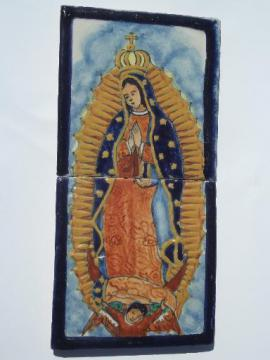 hand painted Mexican Talavera pottery tiles Mary Our Lady of Guadalupe