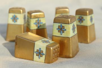 hand painted Nippon antique Noritake china, tiny individual S&P shakers encrusted gold