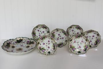 hand painted Nippon china dessert set, bowls w/ purple violets Japan porcelain