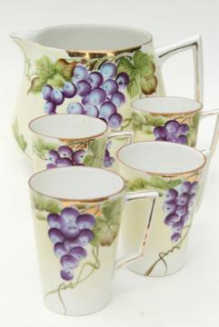 hand painted Nippon china grapes pattern wine pitcher & cups, early 20th century vintage