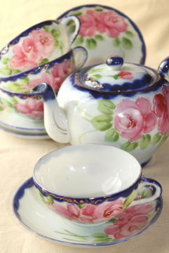 hand painted Nippon porcelain teapot, cups & saucers - antique flow blue china w/ roses