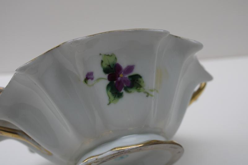 hand painted Nippon vintage china dish w/ handles, violets & gold moriage trim