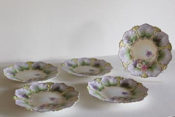 hand painted antique china plates, flower leaf mold, unmarked RS Prussia