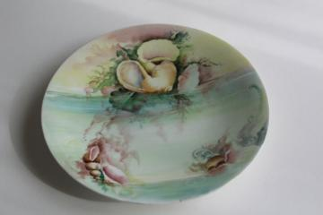 hand painted beach seashells plate, 1920s vintage Limoges china, signed