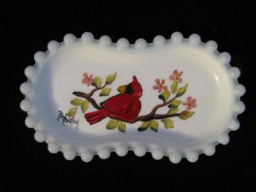 hand painted bird, artist signed vintage Westmoreland bead edge milk glass dish