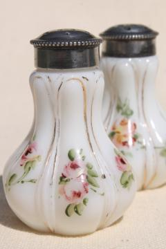 hand painted enamel antique vintage milk glass salt and pepper shakers