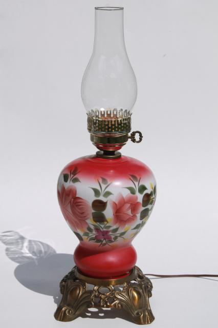 Hand Painted Glass Parlor Table Lamp W/ Hurricane Shade, Gone With The Wind  Lamp
