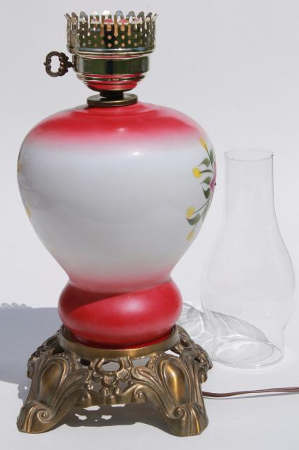 Hand Painted Glass Parlor Table Lamp W Hurricane Shade