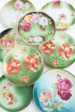 hand painted poppies & roses, antique vintage china plates w/ shabby chic florals