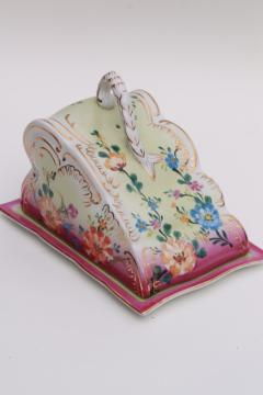 hand painted porcelain cheese keeper server plate, tray w/ wedge cover dome