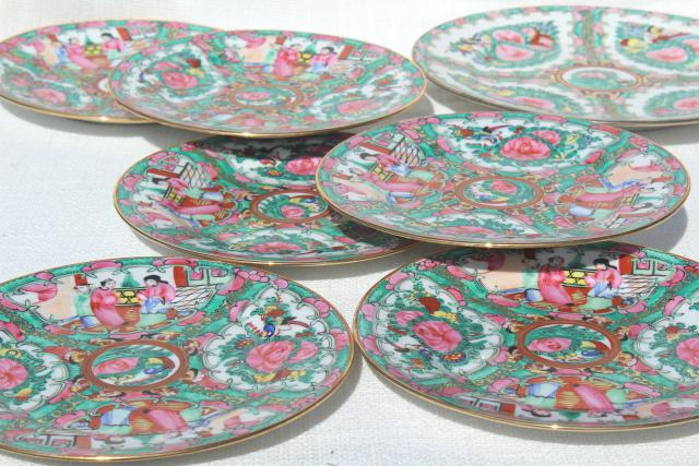 hand painted porcelain plates famille rose medallion vintage Hong Kong china & hand painted porcelain plates famille rose medallion vintage Hong ...