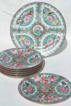 hand painted porcelain plates famille rose medallion vintage Hong Kong china