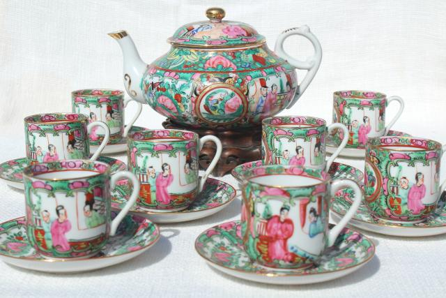 Hand Painted Porcelain Tea Pot Set Cups Amp Saucers Famille