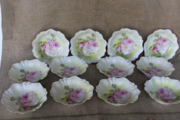 hand painted roses antique R S Germany china dessert dishes or berry bowls set of 12