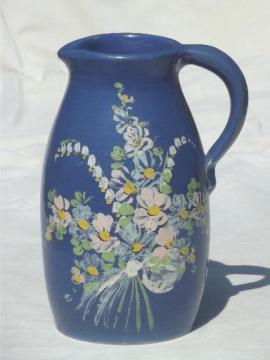 hand painted stoneware pitcher dated 1936, vintage Ransburg pottery?