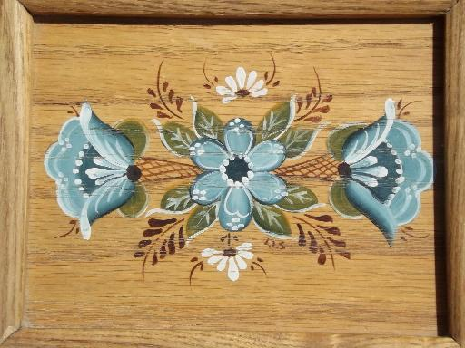 hand painted tole oak box, wooden recipe box full of vintage recipes cards