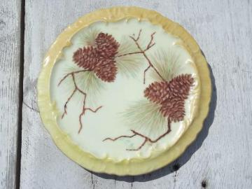 hand painted vintage china tea pot trivet, pinecones pine branches