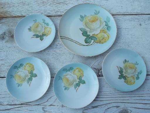 hand painted yellow roses on sky blue, vintage Bavaria cake plate set