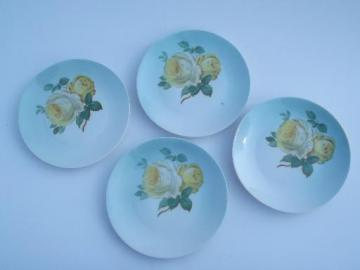 hand painted yellow roses on sky blue, vintage Bavaria dessert plates