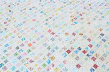 hand stitched cathedral window quilt, 30s 40s vintage cotton print fabrics