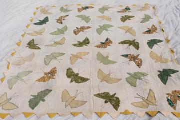 hand stitched vintage applique quilt top w/ butterflies or moths, sawtooth point border