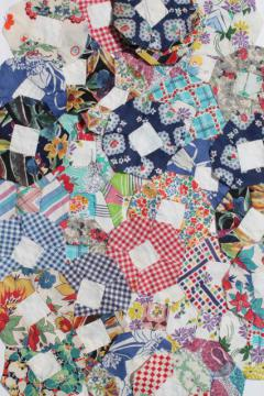 hand stitched vintage patchwork quilt blocks, flower garden motifs in pretty print fabric