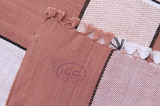 hand woven cotton tablecloth handmade in India, earth tone colors w/ knotted fringe