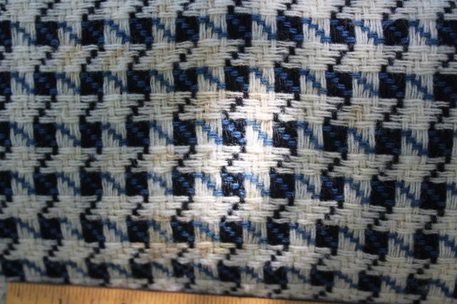 hand woven wool blanket, vintage Goodwin Guild blue & ivory white fringed throw