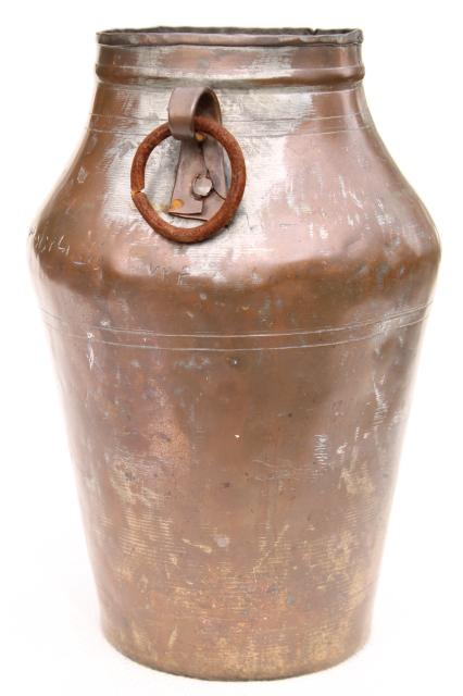 hand wrought Middle East copper urn water jug w/ iron handles, old silver wash