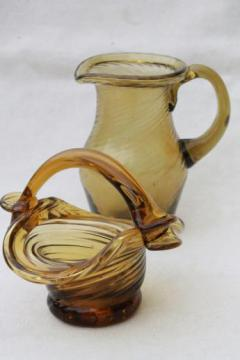 hand-blown amber glass mini pitcher & basket, vintage Mexican art glass
