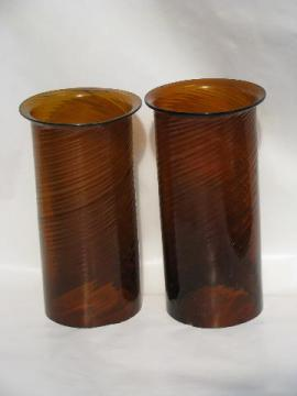 hand-blown swirled amber glass hurricane candle shades, vintage Mexican glassware