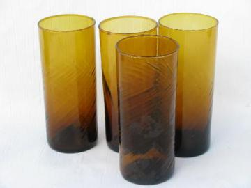 hand-blown swirled amber glasses, vintage Mexican glass, lot of 4 tumblers