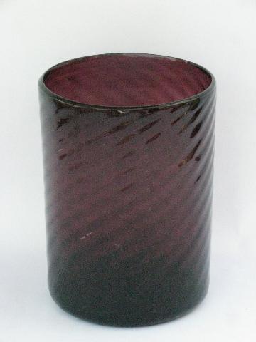 Hand Blown Swirled Amethyst Purple Glass Cylinder Vase Vintage Mexican Glass