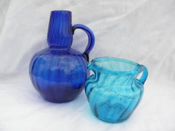 hand-blown swirled aqua and cobalt blue glass pitchers, vintage Mexican glassware