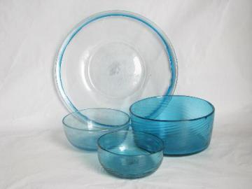 hand-blown swirled aqua blue glass dishes, bowls & plate, vintage Mexican glassware