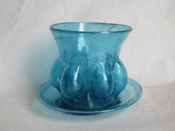 hand-blown swirled aqua blue glass vase or flower pot w/ underplate, vintage Mexican glassware