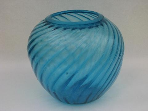 Hand Blown Swirled Aqua Blue Glassware Vintage Mexican Glass Big