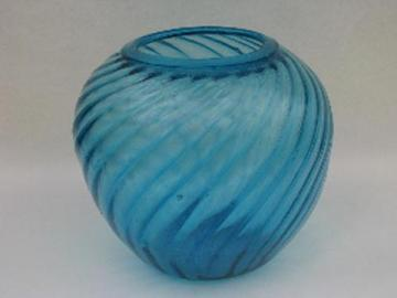 hand-blown swirled aqua blue glassware, vintage Mexican glass, big chunky vase
