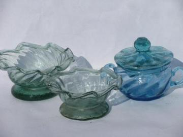 hand-blown swirled blue & green glass condiment dishes, vintage Mexican glassware lot