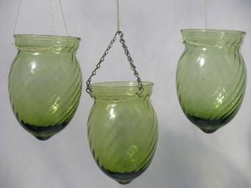 hand-blown swirled green glass light globes, pendant shades for candles