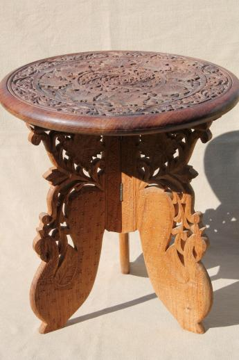 hand-carved Indian sheesham wood table w/ folding stand, retro boho hippie  vintage