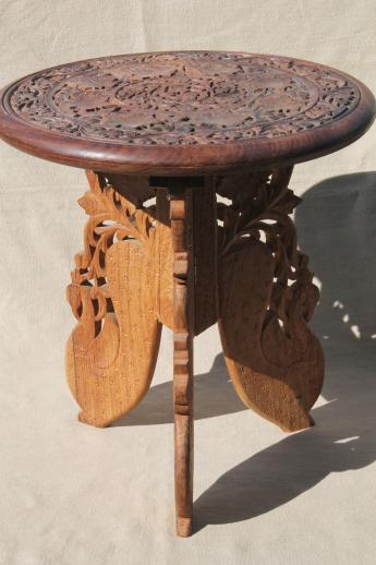 Hand Carved Indian Sheesham Wood Table W Folding Stand Retro Boho Hippie Vintage