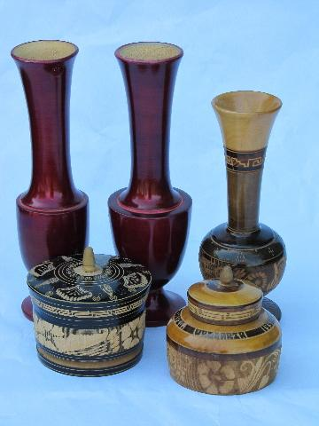 Hand Carved Folk Art Turned Wood Vases Boxes Lot Vintage Treenware