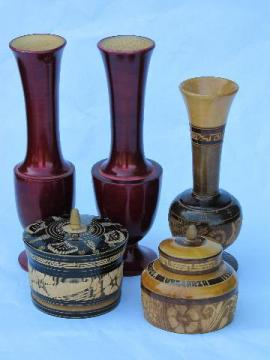 hand-carved folk art turned wood vases & boxes, lot vintage treenware
