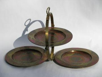hand-colored vintage etched brass folding tiered tray for camp or travel