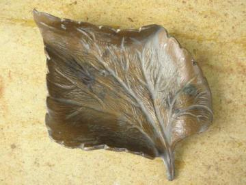 handcrafted freeform leaf shaped dish, heavy solid bronze