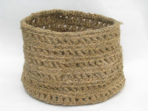 hand-crafted natural unbleached wool basket, flexible bowl shape
