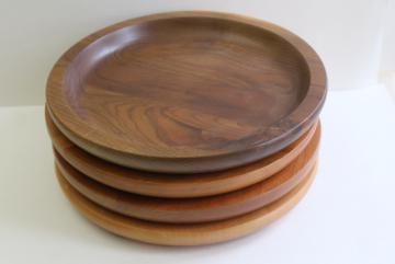 handcrafted rustic natural wood charger plate trays or primitive early style trenchers