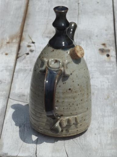 Hand Crafted Stoneware Oil Jar Lamp Bear Pottery