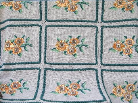 hand-crocheted bedspread w/ yarn embroidered sunflowers, very retro!